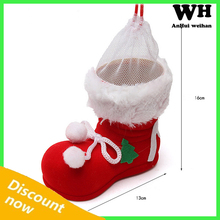 Christmas decorations Red flocking boots shoes Christmas tree ornaments shop furnishing articles Holiday candy bag pen holder