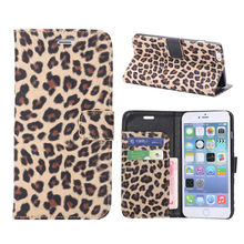 Mobile Phone Cases Leopard Patter Wallet Style Leather Case for iPhone 6 Plus with Card Slots and Stand