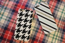 Black & White Grid pattent Stripes Back Case Cover for iPhone6,stripe phone tpu cover case