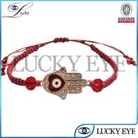 hamsa hand evil eye crystal woven bracelet