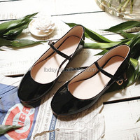 Fashion lace up black flat casual style doll shoes for women