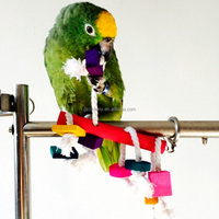 1Pcs Colorful Wood Bird Parrot Cage Small Toys Lovely Pet Cockatiel Parakeet Climbing Chewing Accessories