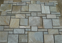 Natural Beige Slate Flagstone Crazy Paving Stone Roman Pattern Paving Tile