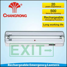 Rechargeable wall-moulted lantern with 8W fluorescent tube light