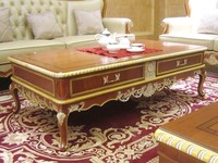 0050 European antique luxury living room furniture hand carved wooden coffee table