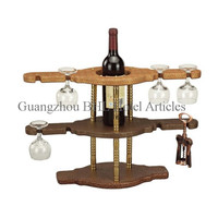 Deluxe bar/hotel leather red wine rack YJ-6(A) with 8 glass holder, single bottle wine display rack for guest room