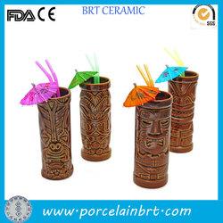Traditional colour glazed porcelain tiki mug