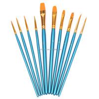 Professional 10Pcs Brushes Set Artist Nylon Hair Paint Acrylic Oil Wooden Handle Painting Watercolor Supplies Brush Kit