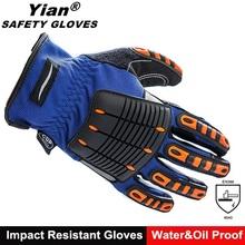 Custom mechanics oil resistant auto mechanic gloves with hard knuckle