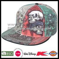 Flat peak fashion hip hop custom sublimated caps