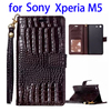 Trade assurance Crocodile leather case for sony xperia m5 phone case with card slot