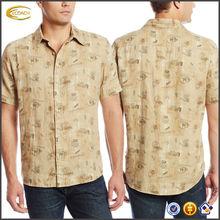 OEM wholesale Men Son Of A Sailor Short-Sleeve shirttail hem cuffed sleeve all over print Linen casual hawaii shirt