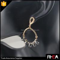 Fashion Basket Hoop Earring Black Drop Drop Earring