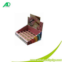 Hot selling cosmetic counter cardboard racks,lip balm countertop ready made stands