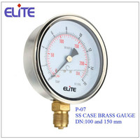P-07 100mmpor 150mm SS CASE Brass Socket Bourdon Tube Pressure Gauge