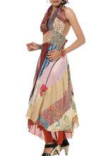cuello halter vestido de diseñador de las señoras vestidos de seda ropa de fiesta vestido de seda