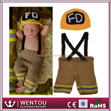 newborn baby photo props fire alarm baby cap and pants