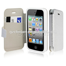High quality bling color fold leather case for iphone 4