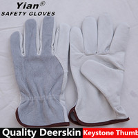 Deerskin Leather Full/Split Safety work Driving Gloves
