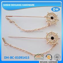 fashion gold brooch muslin hijab scarf pins,metal custom lapel pin badge, metal anchor collar pin
