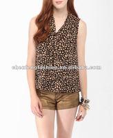 CHEFON Ladies Animal Print Tie Neck Shirts CB0292