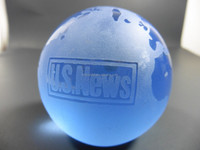 personalized BLUE GLASS PAPERWEIGHT GLOBE MH-Q0157