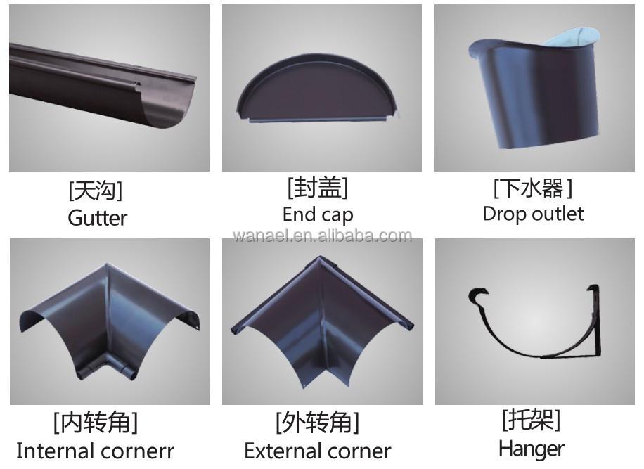 Half Round U Aluminium Gutter System Gutter Drain Aluminum