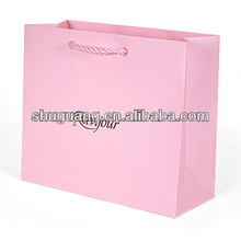 Matte Laminated Pink Paper Shopping Bag With Foil Stamped Logo