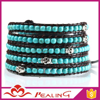Alibaba Guangzhou Factory Direct DIY Turquoise Bead Wholesale Leather Wrap Bracelets