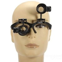 10X 15X 20X 25X LED Double Eye Jeweler Watch Repair Magnifying Glasses Loupe Magnifier 9892G