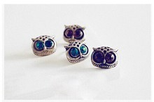 Promotion Fashion Trendy Personality Cute Lovely Big Eye Owl Rhinestone Stud Earrings