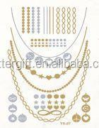Inkjet gold and silver temporary tattoo cheap tattoo needles art designs tattoo