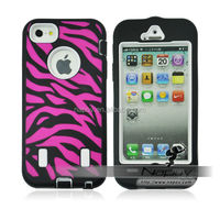 China Wholesale Hard Zebra Pattern for iPhone 5 Hybrid Phone Case Cover