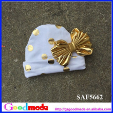 Personalized new born baby hat with gold dots bow for christmas out fit