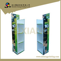 Free Standing Cardboard Merchandising and Display with 4 Sheves