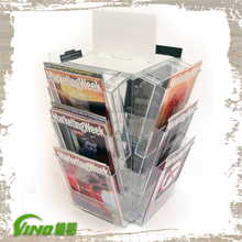 A4 Leaflet Carousel with 12 Pocket / Acrylic Roating Stand Brochure Stand