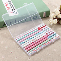 NEW Hot sale 10pcs/lot Colorful Gel Pen Office Student School Stationery Writing Christmas Gifts with Plastic holder case box