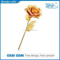 Rose-Open 24 Karat Rose Pure Gold Foil Flowers Fancy Design Oxidation Resistance Wedding Bridal Gift Ornament Home Decoration