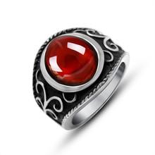 SS079 Fashion Red Stone Women Luxury Design 316 Stainless Steel Titanium Ring