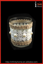 Hand carved crystal artificial flowers with glass vase