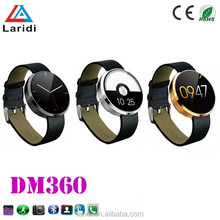 2015 The most popular bluetooth and moto 360 smartwatch DM360 heart rate smart watch for android and ios smartphone for man use