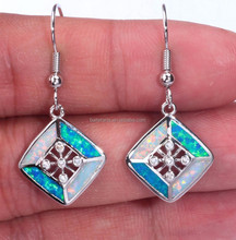 925 Sterling Silver Mluti Color Opal Inlay Gemstone Drop Earrings With Cubic Zircon