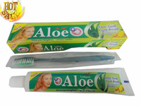 hot sell 105g home use Aloe white teeth& fresh breath& Natural herbage Essence &cool mint toothpaste