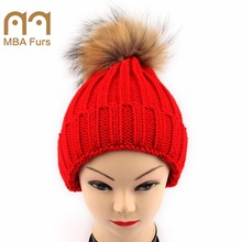 MBA Furs 3-10 years old children woolen knit hat with natural raccoon fur balls