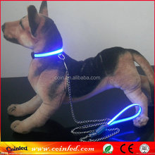 Flashing LED Pet Dog Puppy Collar Traction Rope Safety Walking retractable metal dog Leash Lead Tether