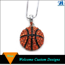 Newest Sports Costume Jewelry Rhinestone Basketball Pendant Necklace Basketball Necklace