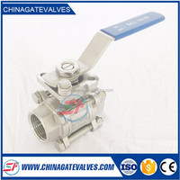 Stainless Steel 3PC Ball Valve ISO5211 Mounting Pad, NPT Thread, SS304