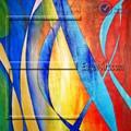 Abstracta moderna pintura al óleo en la lona