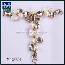 M40074 stylish t shape rhinestone shoe chain for women sandals decoration