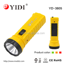 Plastic torch with European pin plug, solar panel led torch
